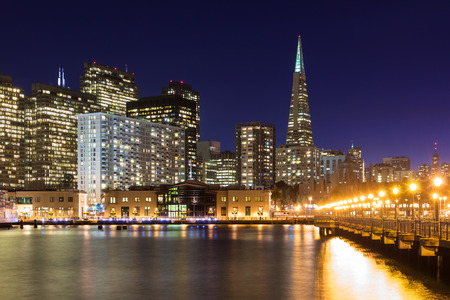 san francisco: San Francisco skyline from Pier 7 at dusk. Stock Photo