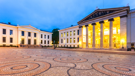 norway: Oslo University at dusk in Oslo, Norway.