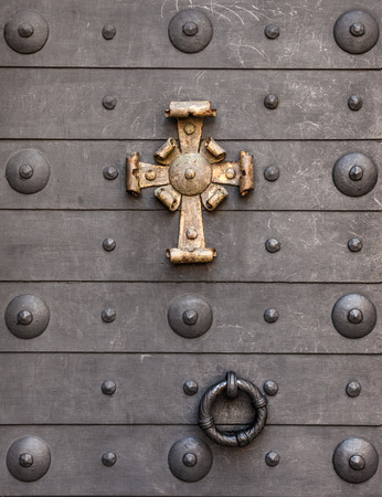 old doors: Detail from a metal door in Akershus fort in Oslo, Norway.