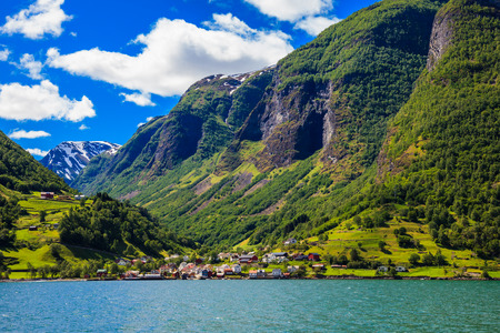 sognefjord: Small village on the scenic Sognefjord in Norway.