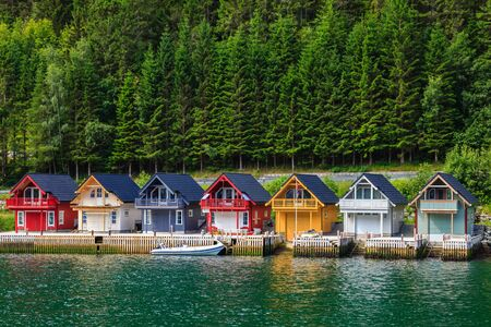 sognefjord: Cute traditional houses in Sognefjord, Norway.