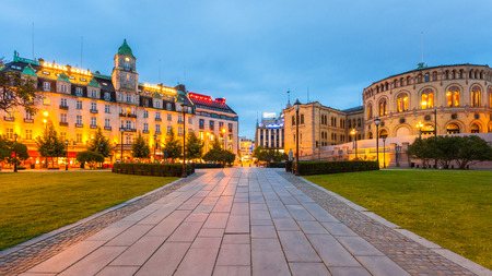 hotels building: The plaza in front of the Parliament and the Grand Hotel in Oslo, Norway.