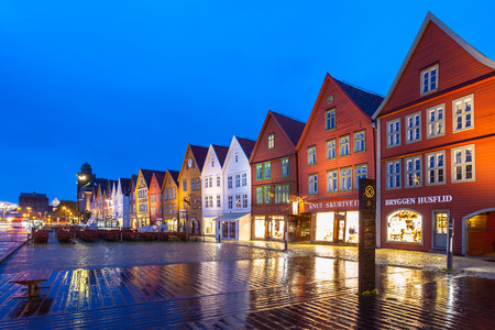The Bryggen Hanseatic Wharf at night, a UNESCO World Heritage site with in Bergen, Norway.