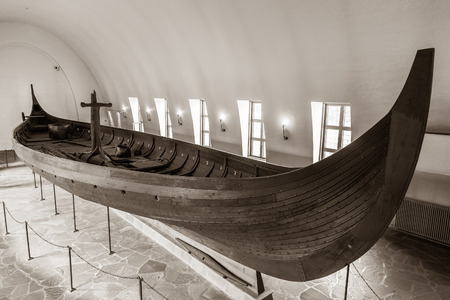Viking longship in the Viking museum in Oslo, Norway.