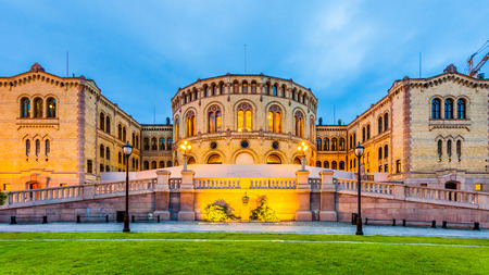 The Norwegian Parliament in Oslo, Norway. Stock Photo
