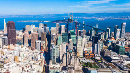 Aerial view of San Francisco downtown and bay.