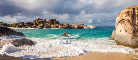 Beautiful beach at The Baths National Park in Virgin Gorda, British Virgin Islands. Stock Photo