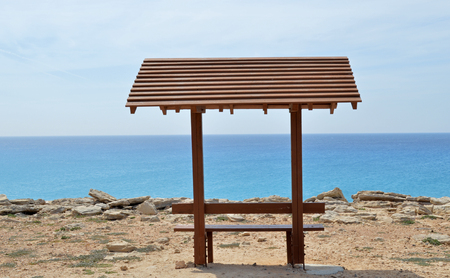 Bench with a great sea view for tourists in protaras cyprus photo