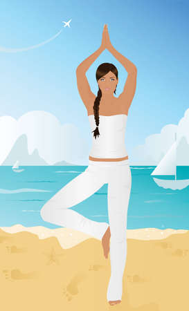 flexible woman: Yoga On The Beach