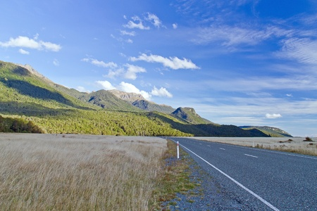 Panoramic color view of nice autumn empty road  South Island, New Zealand  Stock Photo - 14313223