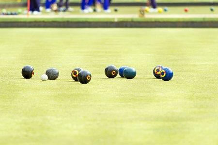 Petanque balls on the ground  Fun and relaxing game photo