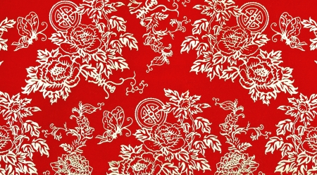 Traditional Chinese floral print pattern on red fabric photo