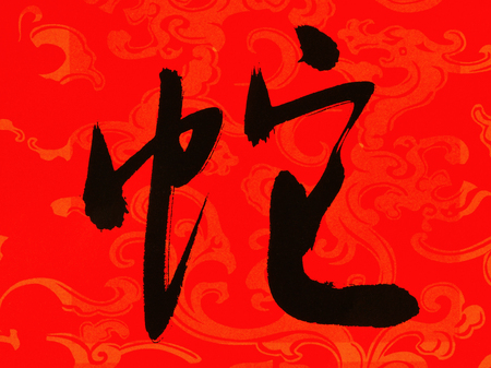 snake calligraphy: Chinese New Year calligraphy for year of the small snake, good fortune will greeting Chinese new year