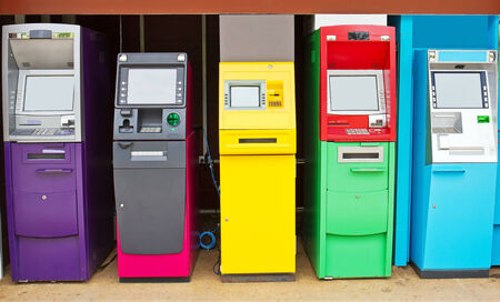 Colorful of automated teller machine abreast on site photo