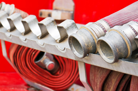 waterpipe: Rubber water-pipe of fire truck close up view