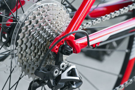 Rear mountain bike cassette with chain close up photo
