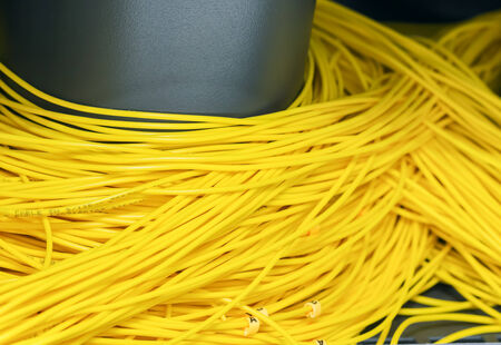 Many optical fiber cable keep in box in server room photo