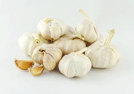 alliaceae: Close up of purple garlic isolated on white background (Alliums, Alliaceae) Stock Photo