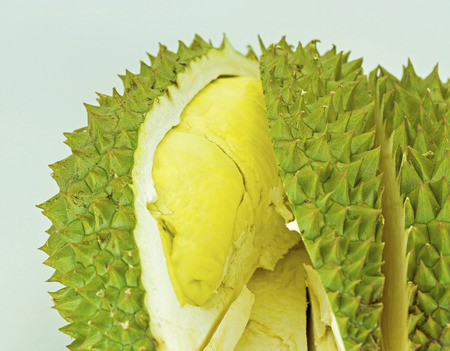 Durian is king of tropical fruit from southeast Asia isolated on white background photo