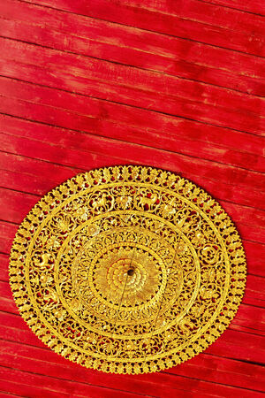 Traditional thai style art carving twelve signs,of the zodiac at the ceiling of temple photo
