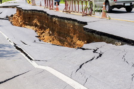 Cracked road after earthquake at Chiang Rai Province, Thailand Reklamní fotografie