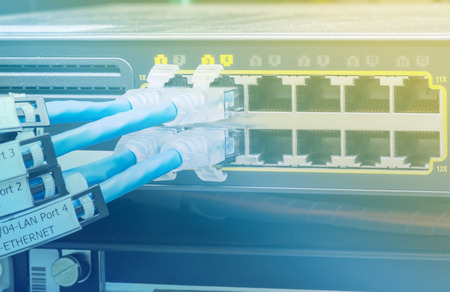 ethernet: Network switch and UTP ethernet cables in data center