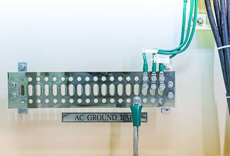 grounding: Grounding electric bar - part of telecommunication equipment in server room