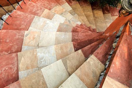 spiral stairway: Top view of stone spiral stairway and sidewalk lantern