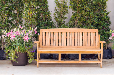 gardening: Decor wood bench setting in flower greenhouse Stock Photo