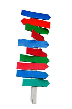direction sign: Empty multicolor wood signboard isolate on white background