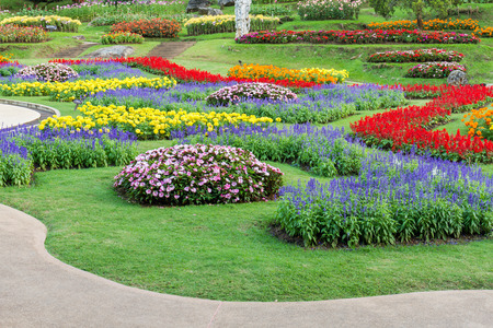 ornamental garden: Famous ornamental garden with colorful flowers in norther of Thailand