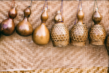 Dried bottle gourd used for traditional canteen for drinking water