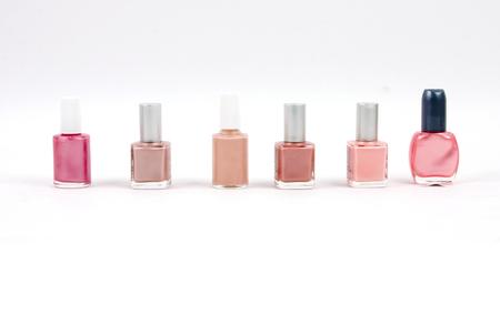 nail polish bottle: pink shades nail polish bottles Stock Photo