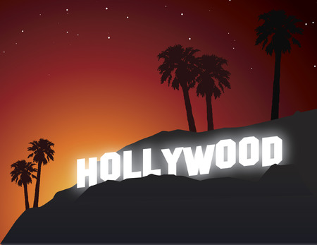 hollywood sign at sunset Illustration