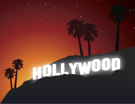 Hollywood-teken bij zonsondergang