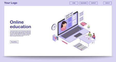 E learning webpage vector template with isometric illustration. Digital education. Online school, classes, lesson. Remote studying. Math webinar. Website interface layout. Webpage design 3d concept Ilustracje wektorowe