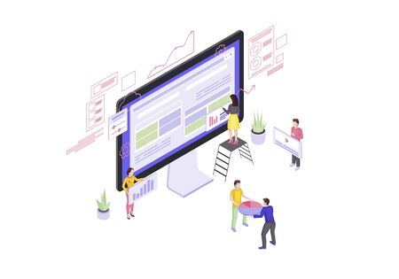 Website builder isometric vector illustration. Web design and development. Webpage construction 3d concept. Web page constructor. People building website. Team create interface isolated clipart