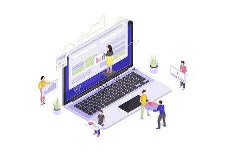Web design and development isometric vector illustration. Website builder. People building website 3d concept. Web page maker. Webpage construction. Team create interface isolated clipart