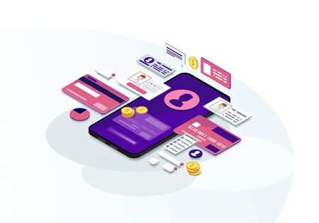 Mobile banking isometric color vector illustration. E-payment. Online bank transactions. Payment system user account. Electronic bills infographic. Financial management. Webpage, mobile app 3d concept