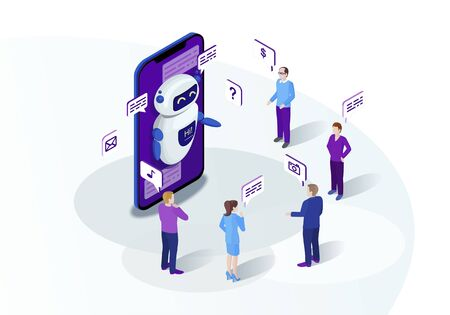 Chatbot isometric vector illustration. Chat bot receiving client messages, requests. Future marketing. Teacherbot. Website assistance. Customer service infographic. IOT 3d concept. Mobile app design