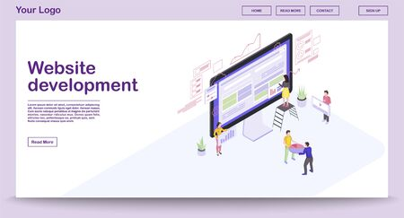 Website development webpage vector template with isometric illustration. Website builder. People building website 3d concept. Webpage construction. Team create interface isolated clipart