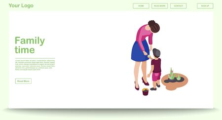 Family time web page vector template with isometric illustration. Mother and son doing gardening. Website interface design. Family leisure and entertainment activity 3d concept. Isolated clipart