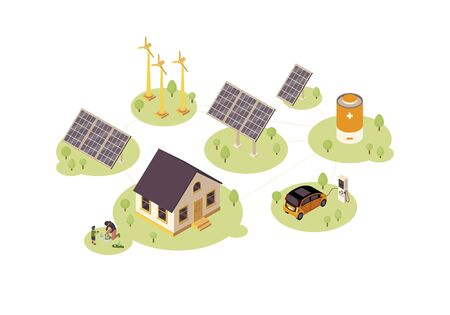 Renewable energy color vector illustration. Eco, green power production infographic. Electric car charger. Eco-friendly house 3d concept. Windmill, solar grid, battery. Webpage, mobile app design
