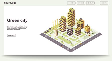 Green city webpage vector template with isometric illustration. Smart buildings with solar grids, plants. Eco town. Sustainable environment. Website interface design. Landing page 3d concept Illusztráció