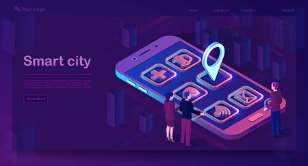 Smart city app isometric banner. Futuristic smartphone with application icons. Futuristic 3d city smartphone app map with pinpoint. Internet of things. Isolated vector illustration