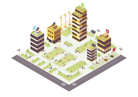 Eco city isometric color vector illustration. Eco friendly buildings with solar grids, trees infographic. Smart city 3d concept. Sustainable environment. Modern town map