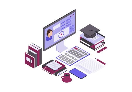 Online education isometric color vector illustration. Internet, distance learning infographic. Video tutorial, e course, e class. Home studying