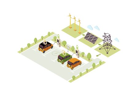Electric vehicle charge station isometric color vector illustration. Eco car charging infographic. Automobile battery filling 3d concept. Solar, wind energy production