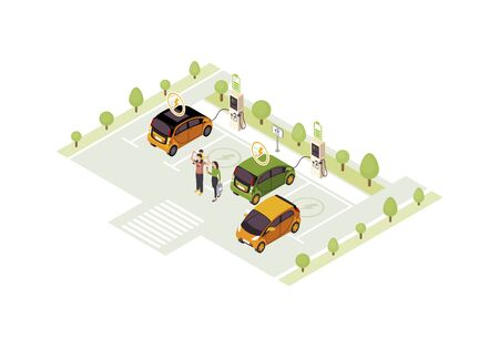 Electric car charge station isometric color vector illustration. Eco transport. Vehicle charging infographic. Automobile battery filling