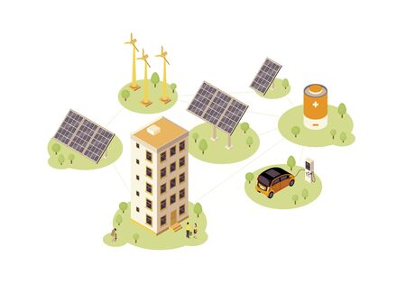 Renewable energy color vector illustration. Solar, wind power production infographic. Electric car charging station. Eco energy 3d concept. Windmill, solar grid, battery Illustration